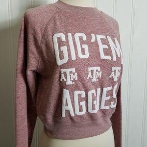 "VS PINK, Texas A&M Cropped ""Gig'em"" Sweatshirt"